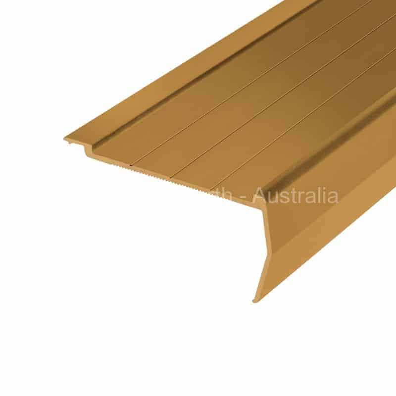 Stair nosing 411 35 mm riser x 75 mm tread with rebate at the back for carpet or vinyl-Sovereign Gold